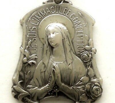 Beautiful Art Nouveau Antique Medal Pendant To Immaculate Virgin Mary