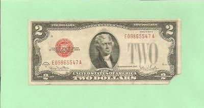 N1S  1928G $2  Red Seal U.s. Note  E 0986 5547 A .... 1928G $2  E-A
