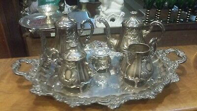 3095g STERLING SILVER COLONIAL SWAN CARVING STYLE COFFEE TEA SET OF 6 PIECES