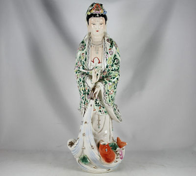 """Large Chinese Porcelain Guanyin Figure Statue, Signed   16"""" /  40.6 Cm. Tall"""