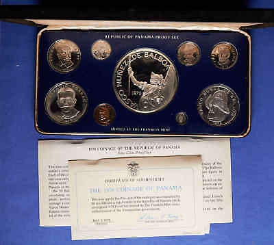 1978 Panama Proof Set w/ silver in presentation case. 9 coins with box/COA