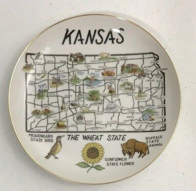 "Vintage KANSAS NORCREST Japan The Wheat State Souvenir 8"" Plate Wall Hanging"