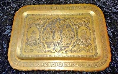 Antique Persian Qajar Islamic Middle Eastern Hand Made Engraved Brass Tray