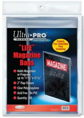 Lot of 100 Ultra Pro Life Magazine Size Poly Bags + 100 Acid Free Backer Boards