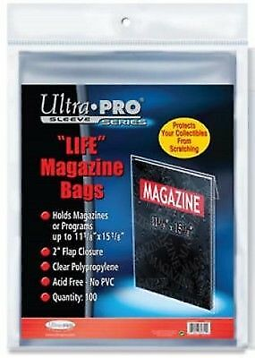 Lot of 200 Ultra Pro Life Magazine Size Poly Bags + 200 Acid Free Backer Boards