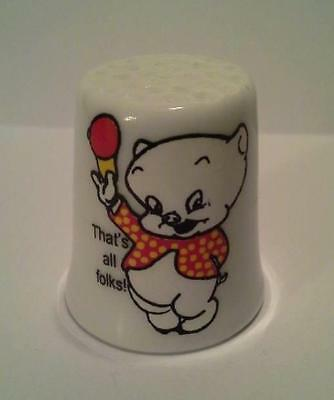 Super Nice Porky Pig That's All Folks! Collectible Porcelain Thimble