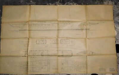 1931 Ocean Going Diesel Yacht Profile Plan Architectural Pencil Drawing