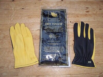 Royal Horticultural Society 'Dry Touch' ladies leather gardening gloves S/M