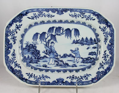 Antique 18Th Century Chinese Export Blue & White Porcelain Platter