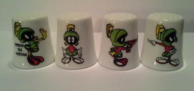 Super Nice Set of 4 Marvin The Martian Collectible Porcelain Thimbles