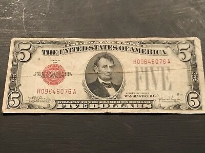 1928-E $5.00 Red Seal US Note
