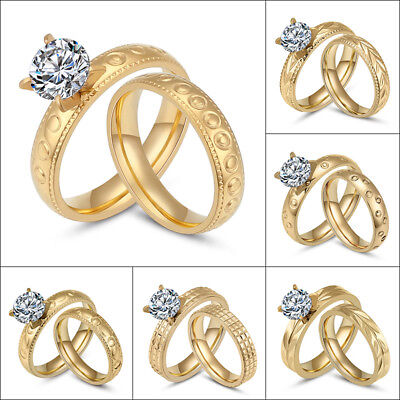 Gold Plated Stainless Steel Couple Rings Set CZ Wedding Band Women Men Size 6-11