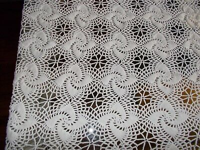 Vintage Hand Crochet Tablecloth  Bed Coverlet 88 x 117""