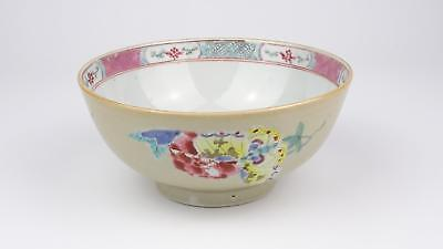 Superb Large Antique 18thC Chinese Qianlong Famille Rose Batavia Porcelain Bowl