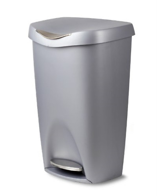 Umbra Brim 13 Gallon Trash Can with Lid - Large Kitchen Garbage Can with Steel