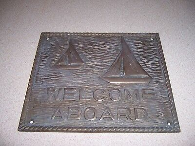 """VINTAGE """"WELCOME ABOARD"""" SOLID BRASS PLAQUE w/SAILBOAT MOTIF - NAUTICAL DECOR"""