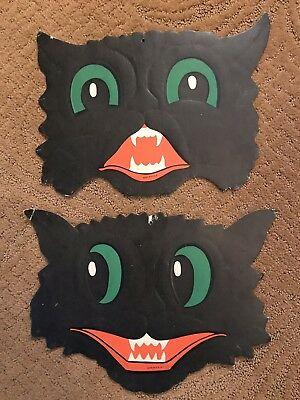 Vintage 2 Halloween LUHRS COLLECTIBLES Large Black Cat Green Eyes Die Cuts