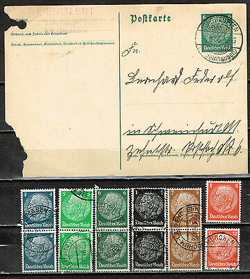 Germany old classic Hindenburg stamps in blocks and postcard lot 1936