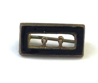 Victorian Miniature Buckle Pin Black Enamel Antique Costume Jewelry Doll Size