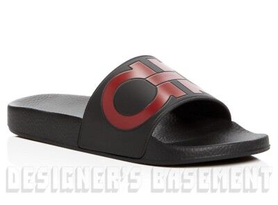 73bdb2f54f6 SALVATORE FERRAGAMO mens 7M black   red GROOVE slides FLIP-FLOPS shoes NIB  Auth