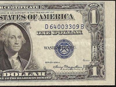 1935A $1 Dollar Minor Misaligned Print Error Note Silver Certificate Paper Money