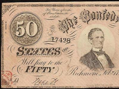 1864 $50 Dollar Confederate States Note Civil War Currency Old Paper Money T-66