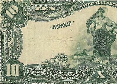 Large 1902 $10 Dollar Date Back National Bank Note Big Currency Old Paper Money
