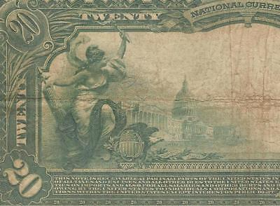Large 1902 $20 Dollar Bill Irving Park Illinois National Bank Note Currency Pmg