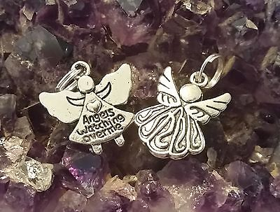 WOW - BARGAIN 2 x SILVER PLATED DIFFERENT ANGEL CHARMS & 44cm Ext Black Cord