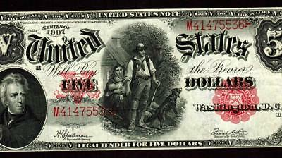 $5 1907 United States Note ** Legal Tender ** Woodchopper ** WEELKY AUCTIONS
