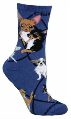 Adult Size Medium CHIHUAHUA Adult Socks/Blue Made in USA