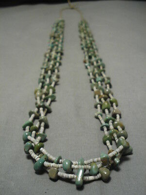 Rare Longer!! Vintage Navajo Turquoise Native American Necklace Old
