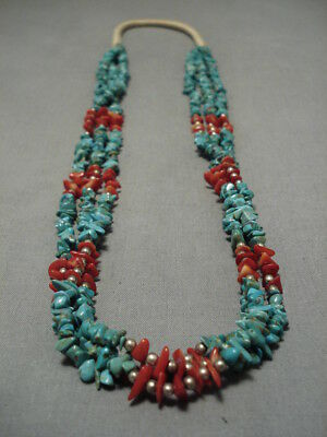 Rare Old Deposit Royston Turquoise!! Vintage Navajo Sterling Silver Necklace