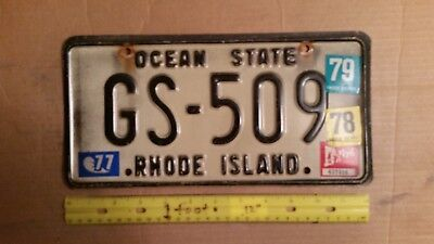 License Plate, Rhode Island, 1976-1979, Graphix Stickers, GS 509, Ocean State