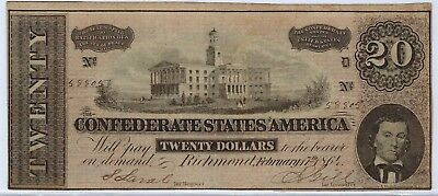 T-67 PF-1 $20 Confederate Paper Money 1864