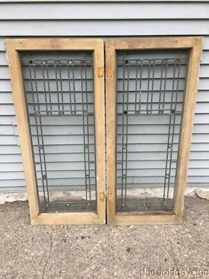 "2 Antique 1920's Leaded Stained Glass Doors / Windows 46"" by 20"" Prairie Style"