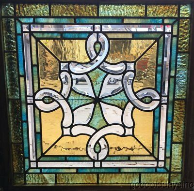 "Antique Chicago Beveled & Stained Leaded Glass Window Beautiful Glass 27"" x 27"""