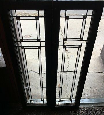 "2 Antique Stained Leaded Glass Windows Cabinet Door 44"" x 13"" Window Circa 1920"