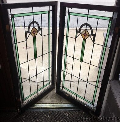 "2 Antique 1920s Chicago Bungalow Style Stained Leaded Glass Door Window 45"" 28"""
