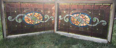 Pair of Antique Victorian Stained Beveled Leaded Glass Transom Windows