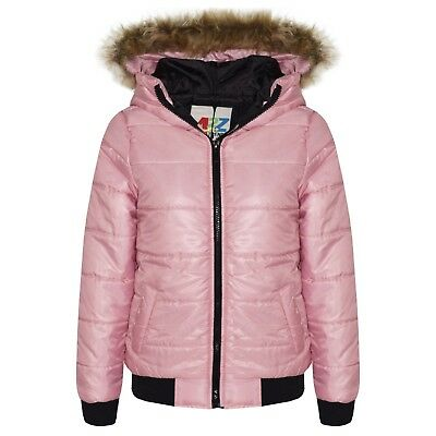 Kids Girls Jacket Baby Pink Maya Faux Fur Hooded Padded Puffer Coat 5-13 Years