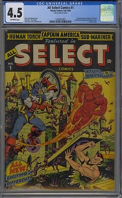 All Select Comics #1 Cgc 4.5 OW Timely Captain America, Human Torch Sub-Mariner