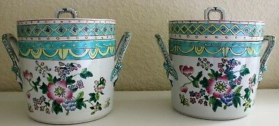 Antique Chinese Export Famille Rose Porcelain Ice Pail Bucket Fruit Food Coolers