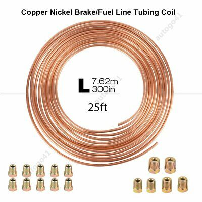 "25 Ft. Roll Coil of 3/16"" OD Copper Nickel Brake Line Tubing Kit with Fittings"