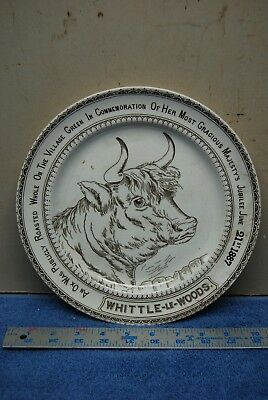 1887 Antique Queen Victoria Jubilee Ox Roast Plate Lancashire England Bull cow