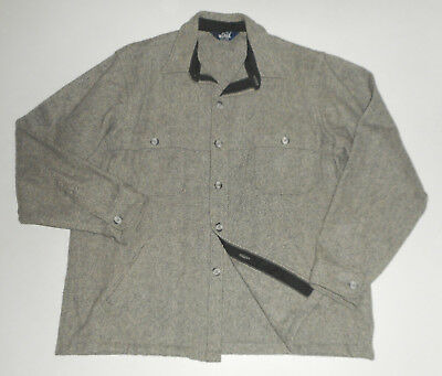 WOOLRICH Mackinaw WOOL Cape Jacket GRAY Herringbone VTG Hunting USA Mens : XL