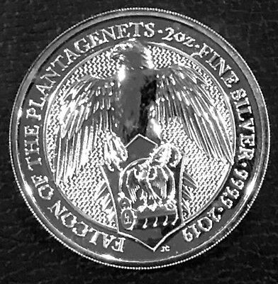 2019 British 2 Oz Silver Queen's Beasts - The Falcon Of The Plantagenets .999 Bu
