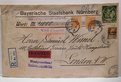 Germany To England Large Cover, Registered Mail, 1921