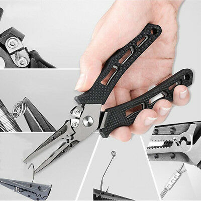 Stainless Steel Fishing Split Ring Pliers Hook Removal Braid Cutters Scissors