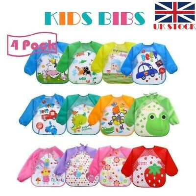 4 Pack LONG SLEEVE Baby/Toddler Bibs WATERPROOF Feeding Apron COMFORTABLE WEAR